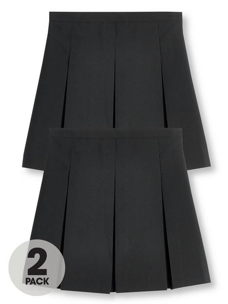 v-by-very-girls-2-pack-classic-pleated-water-repellentnbspschool-skirts-black