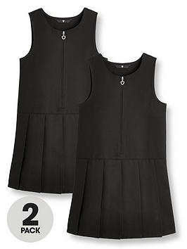 V by Very V By Very Girls 2 Pack Pleat School Pinafore - Black Picture