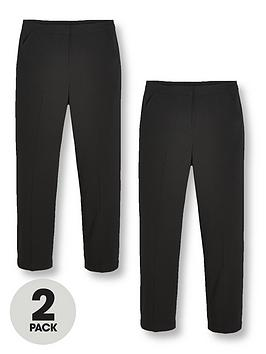 V by Very V By Very Girls 2 Pack Woven School Trouser Reg - Black Picture