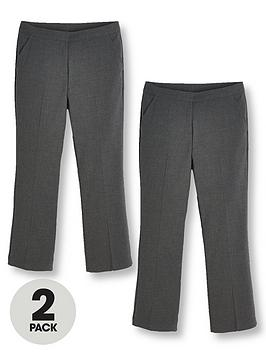 V by Very V By Very Girls 2 Pack Woven School Trouser Plus - Grey Picture