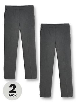 V by Very V By Very Girls 2 Pack Woven School Trouser Reg - Grey Picture