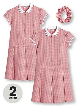 V by Very V By Very Girls 2 Pack Rib Collar Gingham School Dress - Red Picture