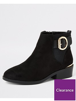 river-island-river-island-wide-fit-buckle-detail-ankle-boot-black