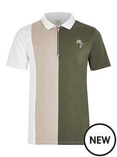 river-island-boys-block-zip-neck-polo-khaki