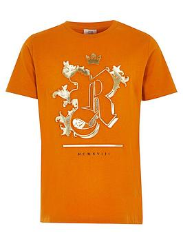 River Island River Island Boys Foil Embossed T-Shirt - Ochre Picture