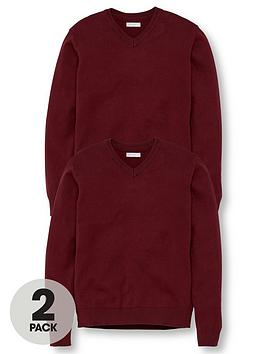V by Very V By Very Unisex 2 Pack V-Neck School Jumper - Burgundy Picture