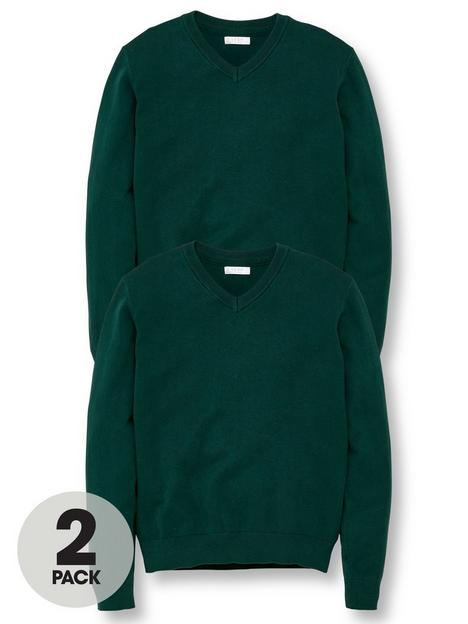 v-by-very-unisex-2-pack-v-neck-school-jumpers-green