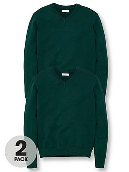 V by Very V By Very Unisex 2 Pack V-Neck School Jumper - Green Picture