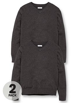 V by Very V By Very Unisex 2 Pack V-Neck School Jumper - Charcoal Picture