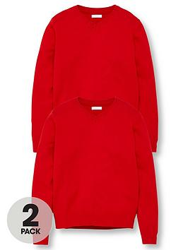 V by Very V By Very Unisex 2 Pack V-Neck School Jumper - Red Picture