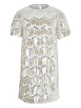 River Island River Island Girls Sequin Tshirt Dress- Silver Picture