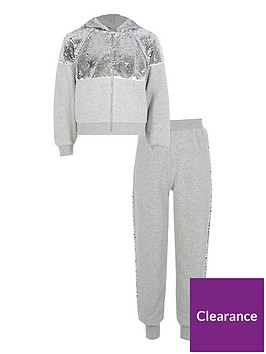 river-island-girls-sequin-zip-front-hoodie-and-jog-pant-set-grey