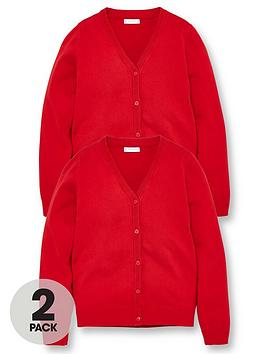 V by Very V By Very Girls 2 Pack School Cardigans - Red Picture