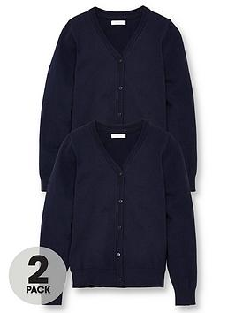 V by Very V By Very Girls 2 Pack School Cardigans - Navy Picture