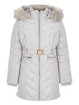 River Island River Island Girls Padded Belted Longline Coat-Grey Picture