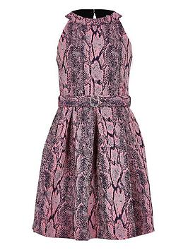 River Island River Island Girls Snake Print Belted Prom Dress-Pink Picture