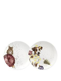 royal-worcester-wrendale-mouse-and-dog-coupe-plates-ndash-set-of-2
