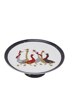 sara-miller-festive-geese-footed-cake-plate