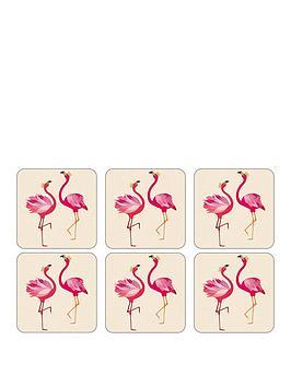 Sara Miller Flamingo Coasters &Ndash; Set Of 6