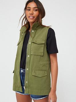 V by Very V By Very Utility Sleeveless Gilet - Khaki Picture