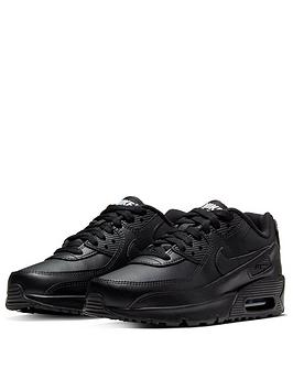Nike Nike Air Max 90 Leather Junior Trainer - Black Picture