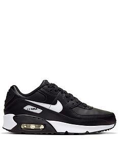 nike-air-max-90-leather-junior-trainers-blackwhite