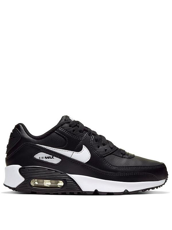 Air Max 90 Leather Junior Trainers BlackWhite
