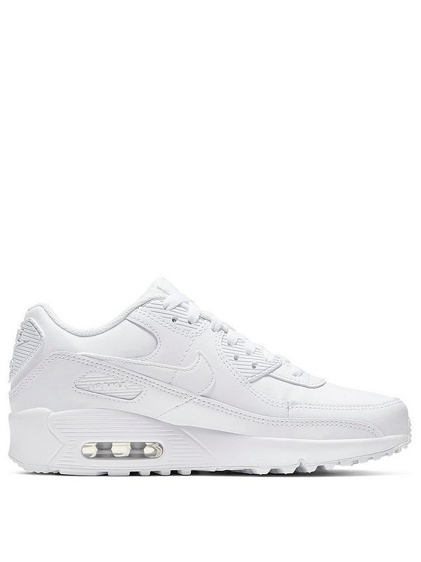 Tareas del hogar Palabra Premisa  Nike Air Max 90 Leather Junior Trainers - White | littlewoods.com