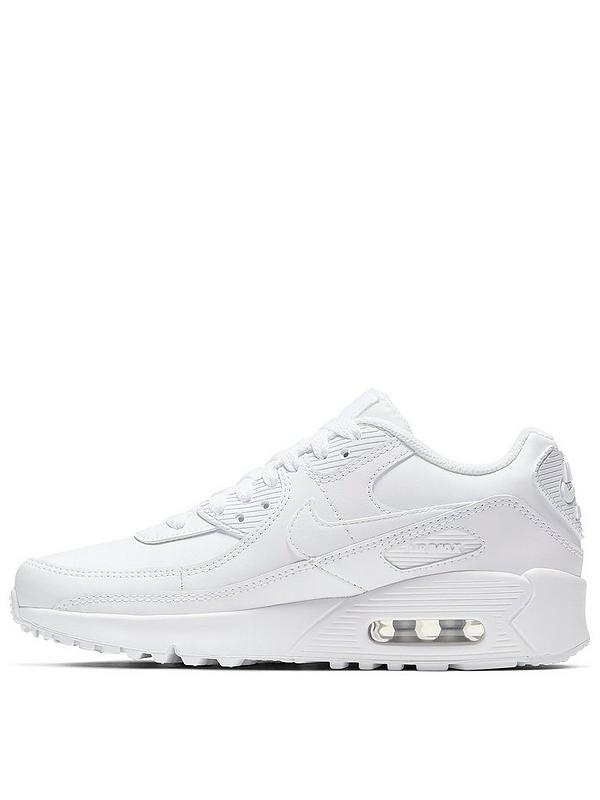 Air Max 90 Leather Junior Trainers - White