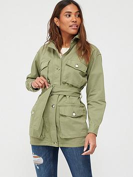 V by Very V By Very Belted Utility Jacket - Khaki Picture