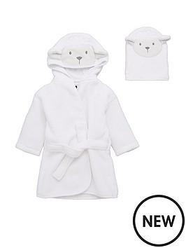 v-by-very-baby-unisex-2-piece-lamb-robe-wash-mitt-set-cream