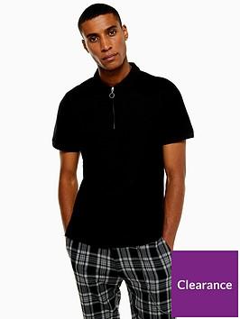 topman-zip-short-sleeve-polo-black