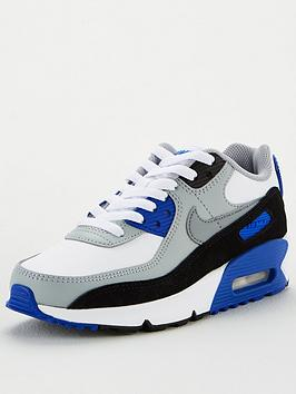 nike-air-max-90-leather-junior-trainer-white-grey-blue
