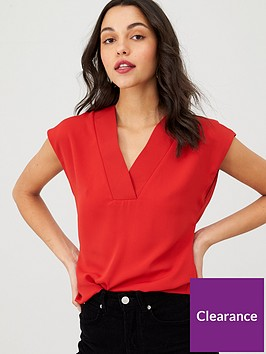 v-by-very-v-neck-formal-shell-top-red