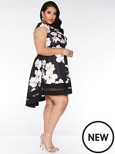 quiz-curve-quiz-curve-black-and-stone-floral-bardot-dip-hem-dress