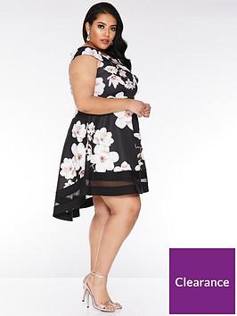 quiz-curve-quiz-curve-black-and-stone-floral-bardot-dip-hem-dress