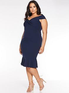 quiz-curve-curve-bardot-knot-front-midi-dress-navy