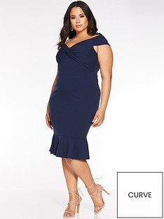quiz-curve-curve-bardot-knot-front-midi-dress-navy