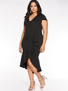 quiz-curve-cap-sleeve-frill-midi-dress-black