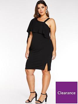 quiz-curve-one-shoulder-dress-black