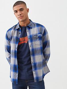 wrangler-pocket-flap-herringbone-check-shirt-cobalt-blue