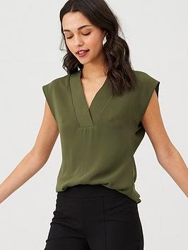 V by Very V By Very V-Neck Formal Shell Top - Khaki Picture
