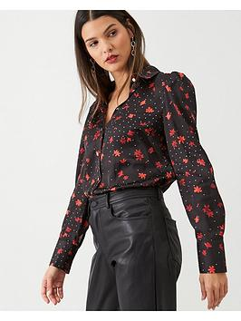 V by Very V By Very Dotted Satin Shirt - Floral Print Picture
