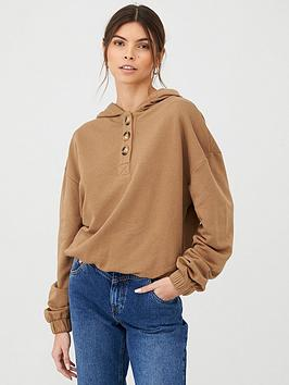 V by Very V By Very Mock Horn Button Cropped Hoody - Camel Picture