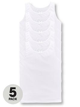 V by Very V By Very Girls 5 Pack White Sleeveless School Vests