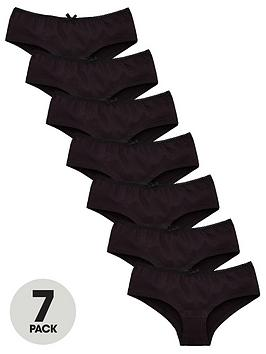 V by Very V By Very Girls 7 Pack Plain School Hipster Briefs - Black Picture