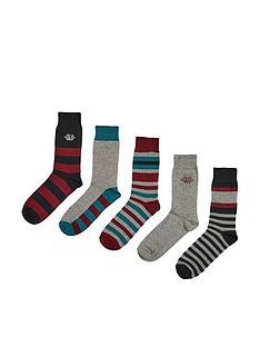 burton-menswear-london-5-packnbspmulticolour-striped-socks-blacknbspmulti