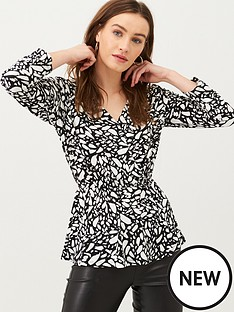 v-by-very-wrap-ruched-sleeve-jersey-top-print