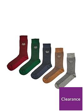burton-menswear-london-5-packnbspmulticolour-crest-textured-socks-multi