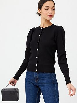 v-by-very-puff-sleeve-knitted-cardigan-black
